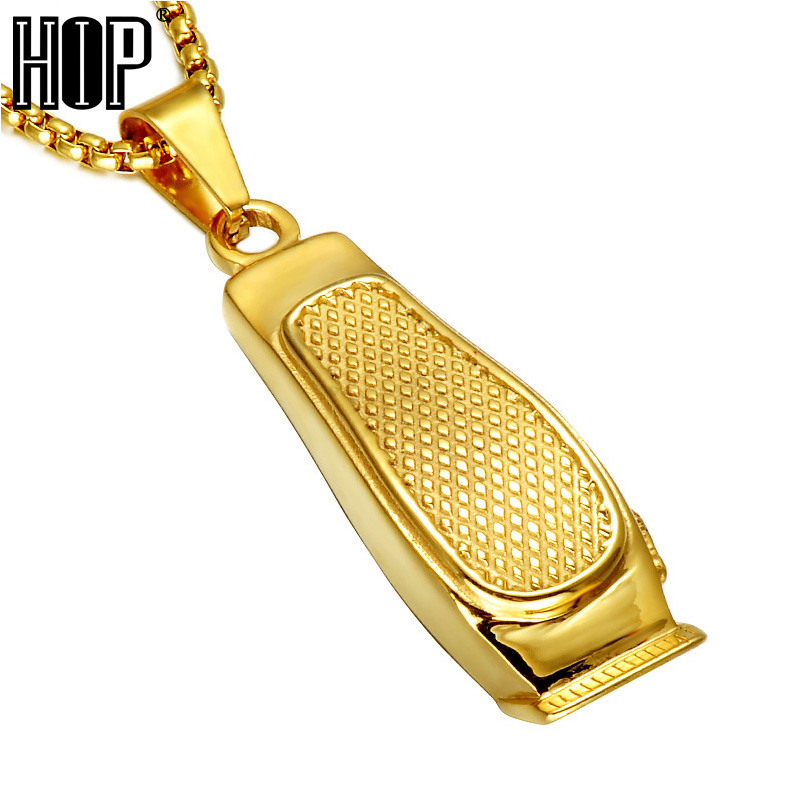 HIP Hop Haircut Machine Barber Necklace Gold Color 316L Stainless Steel Chain Pendants Necklaces for Men Charm Jewelry