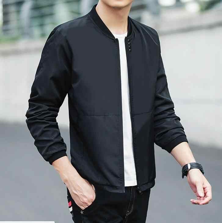 Новая брендовая мужская весенне-осенняя Повседневная куртка тонкая однотонная модная куртка мужская Тонкая мужская куртка с воротником-стойкой veste homme M-5XL