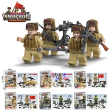 6pcs World War 2 WW2 Japanese Chinese Army Military fire weapon Machine gun building blocks model bricks Baby toys for children
