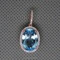Vintage Oval 10x14mm 14Kt Rose Gold  Blue Topaz Pendant For Women Jewelry Gift ESR0015