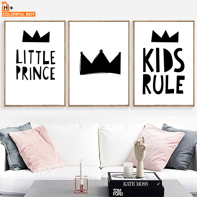 Colorfulboy crown kids love quotes wall art canvas painting black white modern posters and prints wall