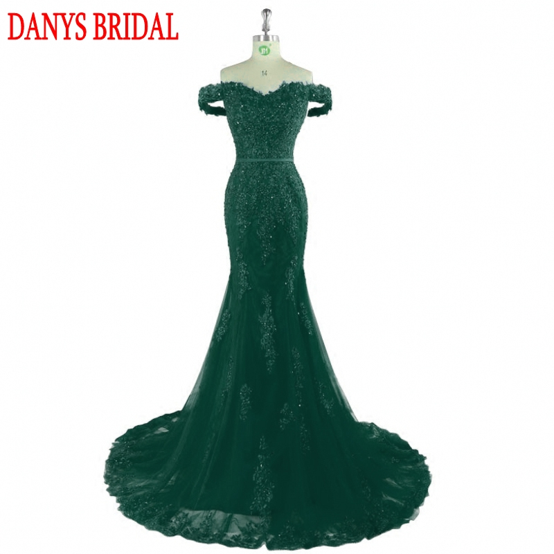 Emerald Green Long Lace Mermaid Evening Dresses Party Women Beaded Formal Evening Gowns Dresses Wear robe de soiree longue