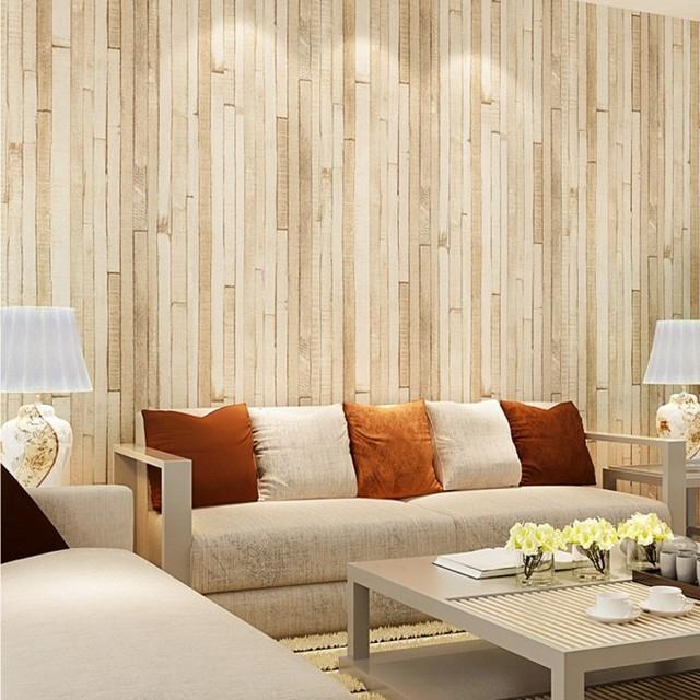 Gratis Verzending Houten patroon vliesbehang retro bruin geel hout ...