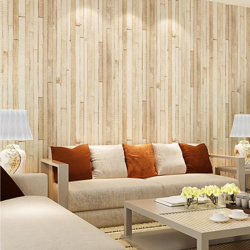 Kostenloser Versand Holz Muster Vliestapete Retro Braun Gelb Tapete Wohnzimmer TV HintergrundbildChina