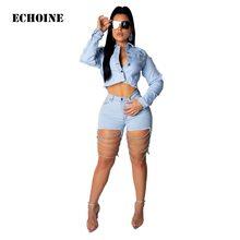 8d8ff2a9486b4 2019 nouveau femmes Denim trou Shorts Sexy moulante évider chaîne pantalon  femmes Club tenue Skinny pantalon