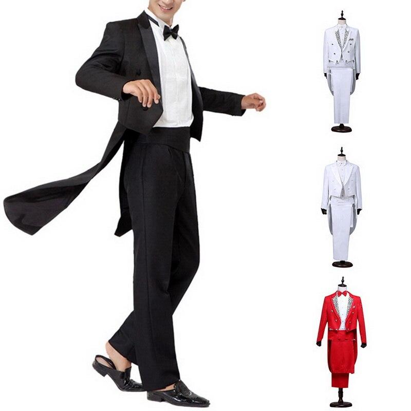 Oeak 2019 Classic Formal Men Tuxedo Blazers Suit Set Solid Sequin Tailcoat Tuxedo Wedding Groom Suits Sets Men Stage Costume New