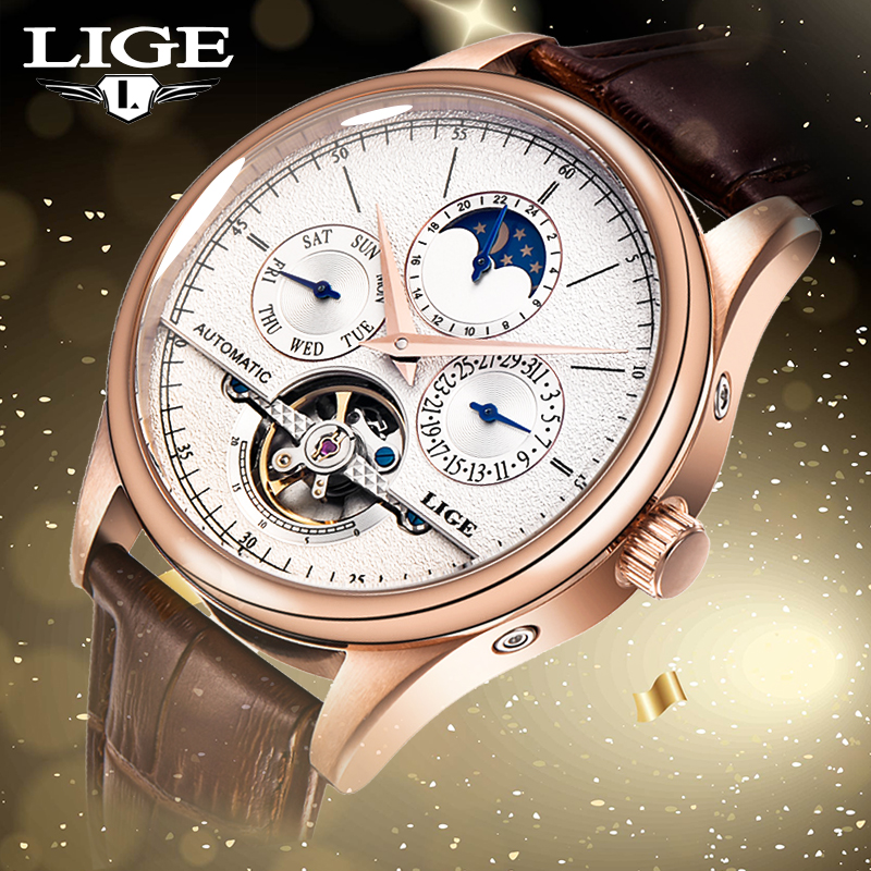 LIGE Mens watches Automatic mechanical watch tourbillon clock Military sports and leisure Brand leather watch relogio masculinoLIGE Mens watches Automatic mechanical watch tourbillon clock Military sports and leisure Brand leather watch relogio masculino