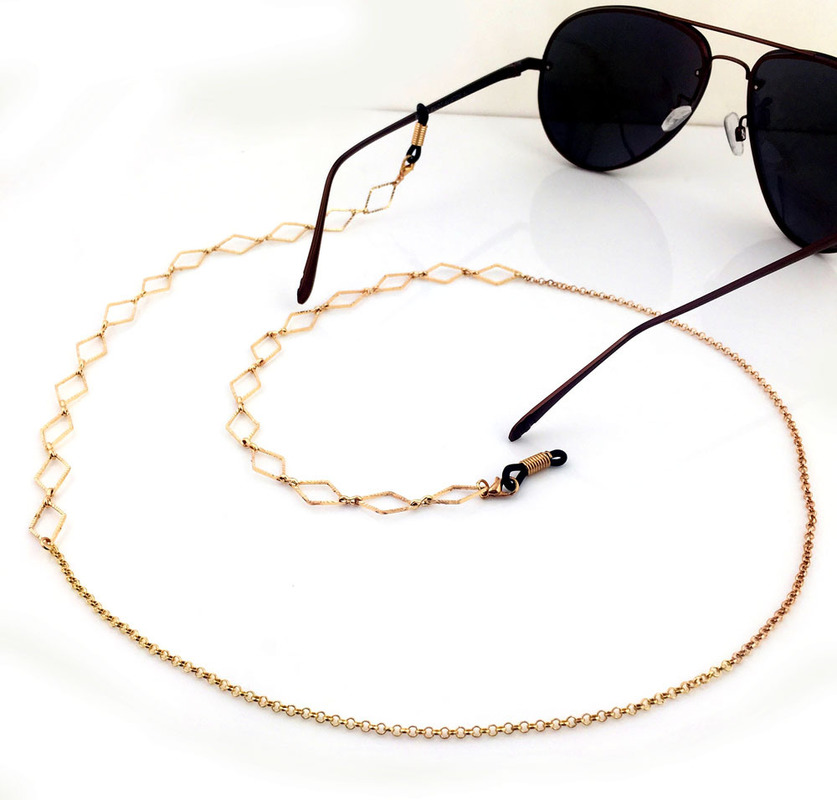 1PC Fashion Womens Gold Eyeglass Chains Sunglasses Reading Crystal Beaded Glasses Chain Eyewears Cord Holder neck strap Rope