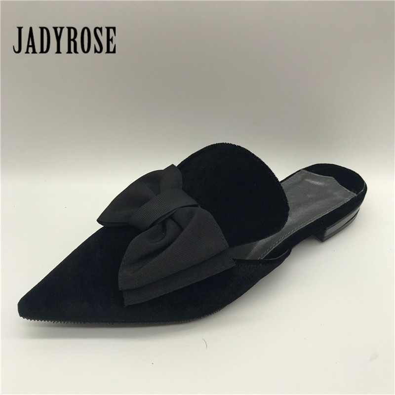 Jady Rose Pointed Toe Women Slippers Bowknot Decor Flat Slipper Female Velvet Casual Loafers Ladies Flat Shoes Woman Mules pointed toe flat mules