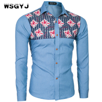WSGYJ Brand 2017 Fashion Male Shirt Long Sleeves TopsThe New High Quality Men S Jeans Stitching