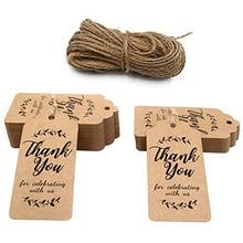 300 шт белый/коричневый крафт-бумага, ярлыки для подарков спасибо бумажные бирки детская игрушка в ванную вечерние сувениры персонализированные подарки на свадьбу для гостей