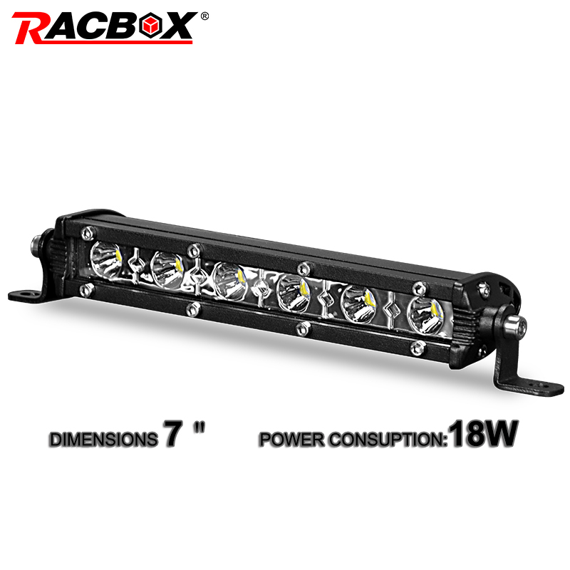 18w 7inch Slim Single Row Spot Flood Beam Mini LED Work Light Bar For ATV SUV 4WD Motorcycle Automobile Headlights Car-Styling