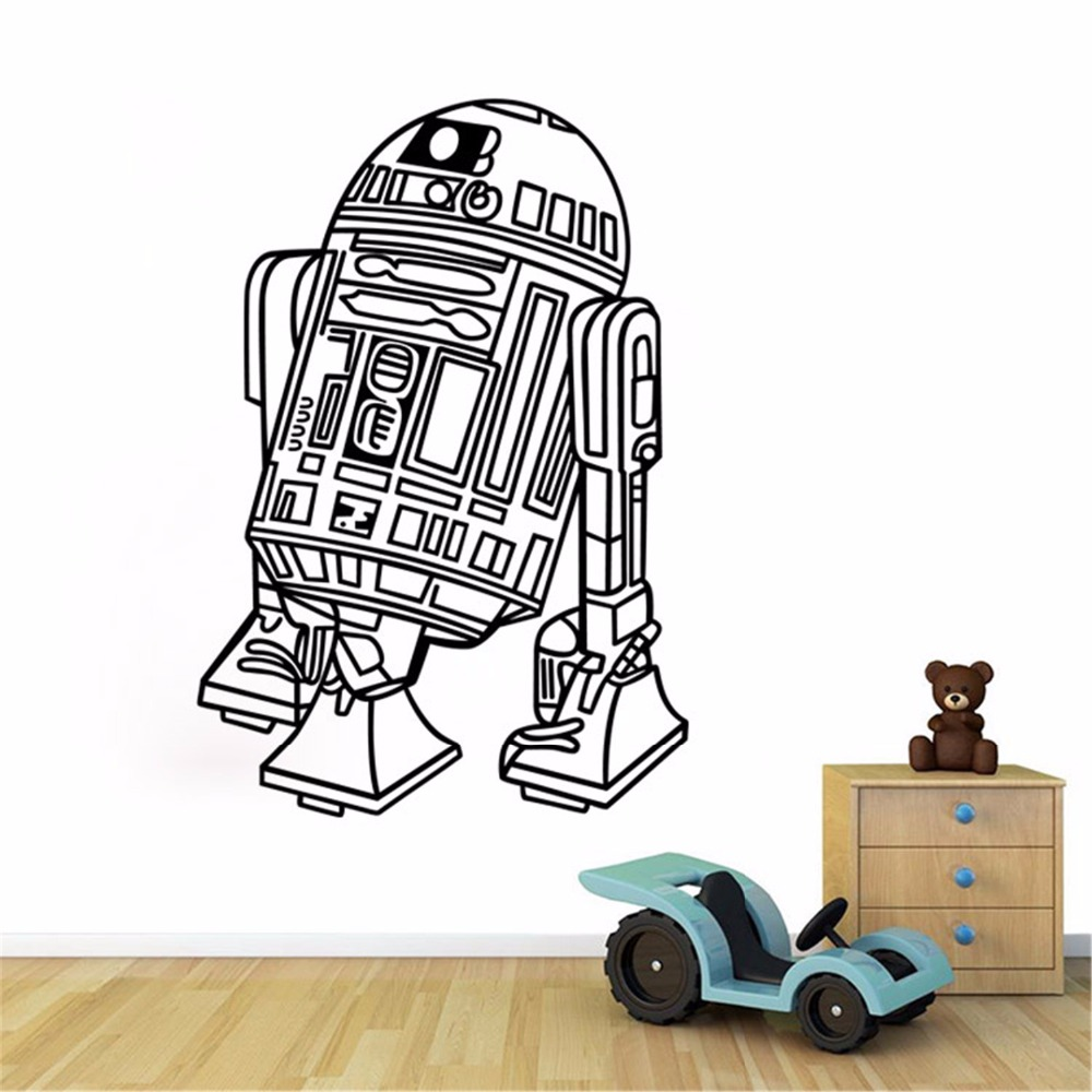 Art Design Star Wars Robot Wall Sticker Quote R2 D2 Decal Vinyl Home Decor Kids Geek Gamer Removable Mural Bedroom Wallpaper ...