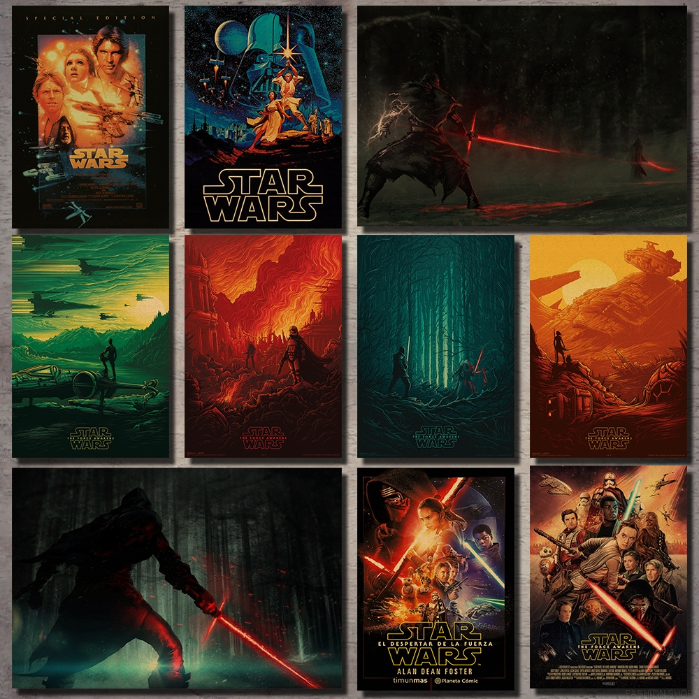 Star Wars Series Movie Posters Kraft Wall Stickers Posters Darth Vader Black Warrior Poster Vintage Wall Stickers image