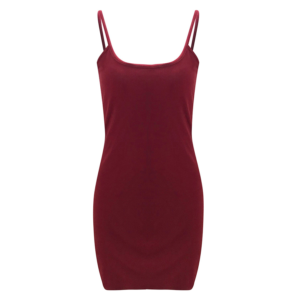 Womens Summer Strappy Bodycon Dress Evening Party Club Short Mini Dress Women's Casual Solid Color Slim Sleeveless Sling Dress