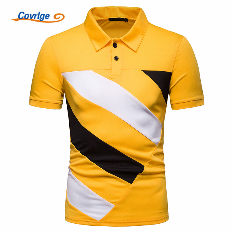 Covrlge Summer Fashion Men   Polo   Shirt British Style Patchwork Color Short Sleeves Casual Camisa Slim Fit Shirt Homme MTP104