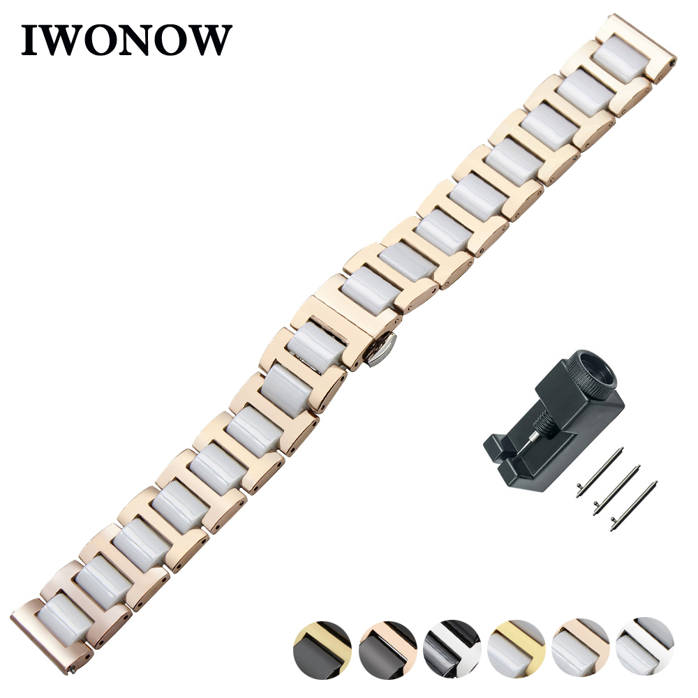 Ceramic + Stainless Steel Watch Band 20mm 22mm for Diesel Quick Release Strap Butterfly Buckle Wrist Belt Bracelet ceramic stainless steel watch band 14 16 18 20 22mm for orient butterfly buckle strap quick release wrist belt bracelet tool