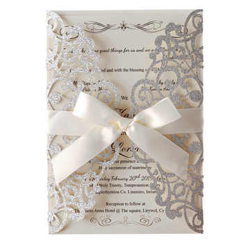 Sliver Glitter Laser Cut Wedding Invitations Cards With Ribbon Hollow Flora for Bridal Shower Party supplies,Customizable 100pcs - DISCOUNT ITEM  11% OFF All Category