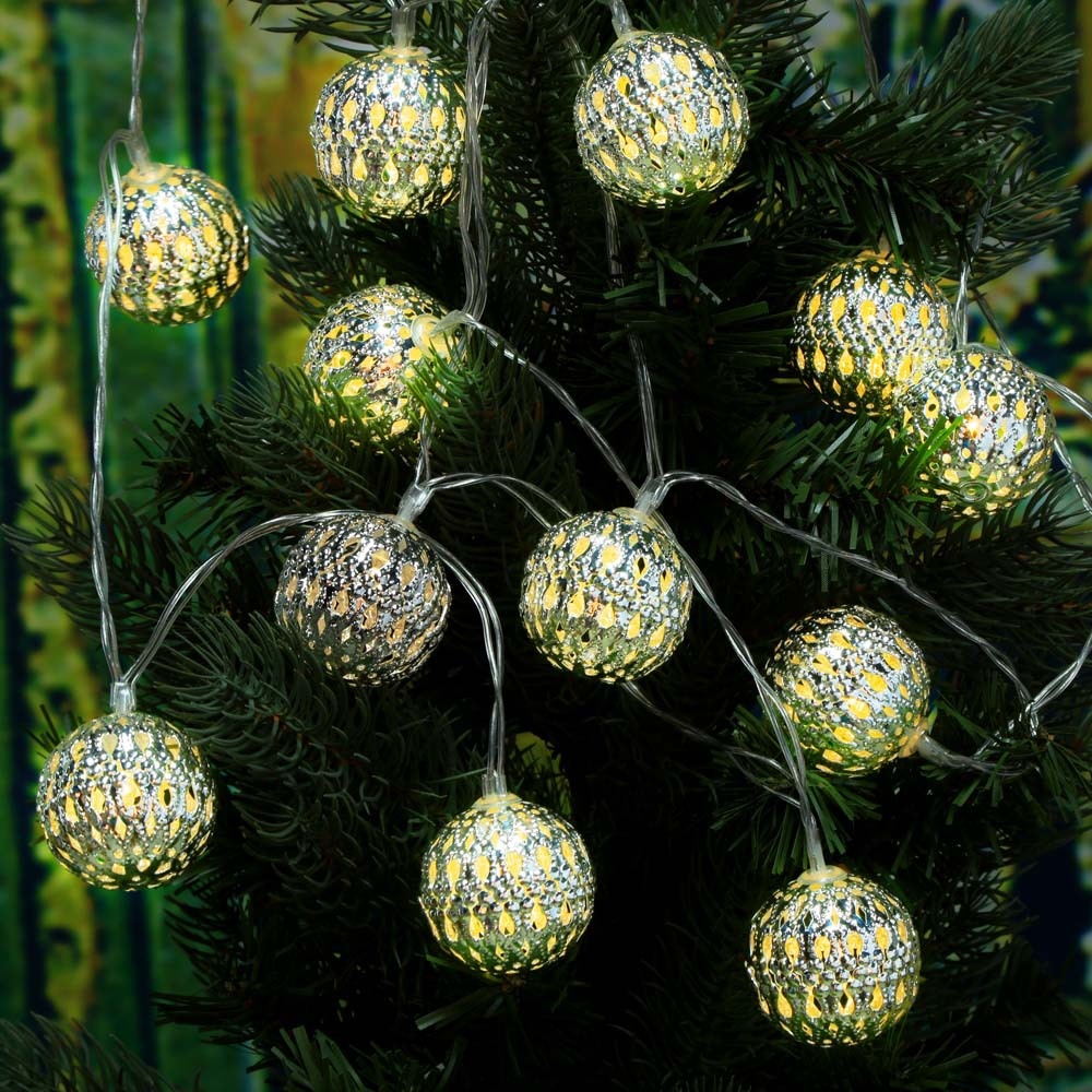 Modern outdoor christmas decor - Warm White 4m 12 Led String Lighting Wedding Fairy Christmas Lights Outdoor Hollow Ball Globe Christmas Decoration Outdoor