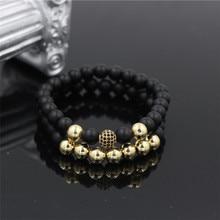 Fashion 2Pcs/Sets Men Womans Black Mala Matte Stone Bead Bracelet Set Micro Pave CZ Ball Charm Couple Bangle