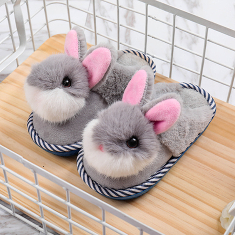 Children Cotton Slippers Girls Home Shoes Winter Kids Cartoon Indoor Warm Wool Slippers Boys Cute Rabbit Slippers Soft Shoes