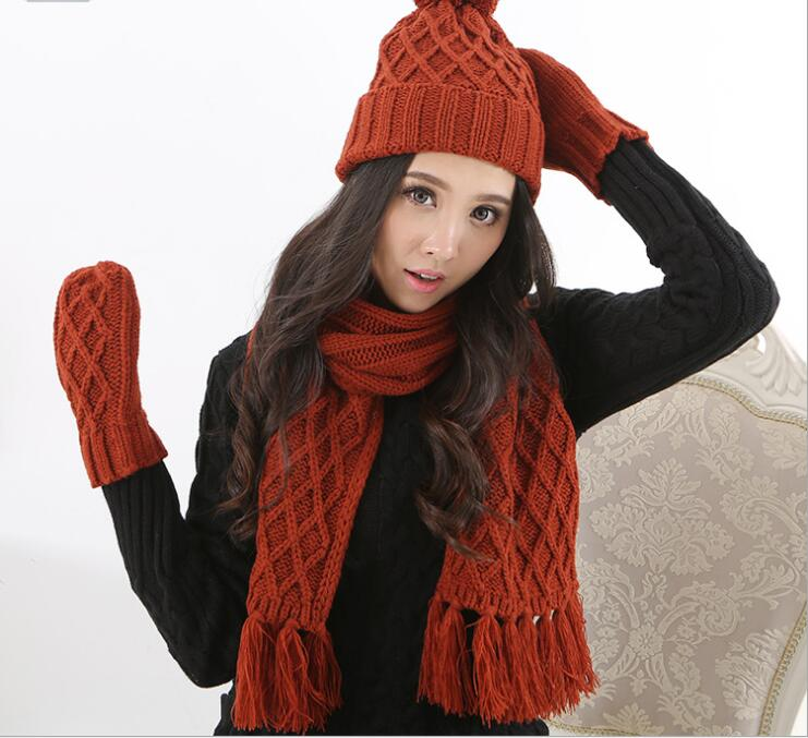 Autumn And Winter Men And Women Fashion Printed Knited Keep Warm Scarf, Hat & Glove Sets 058