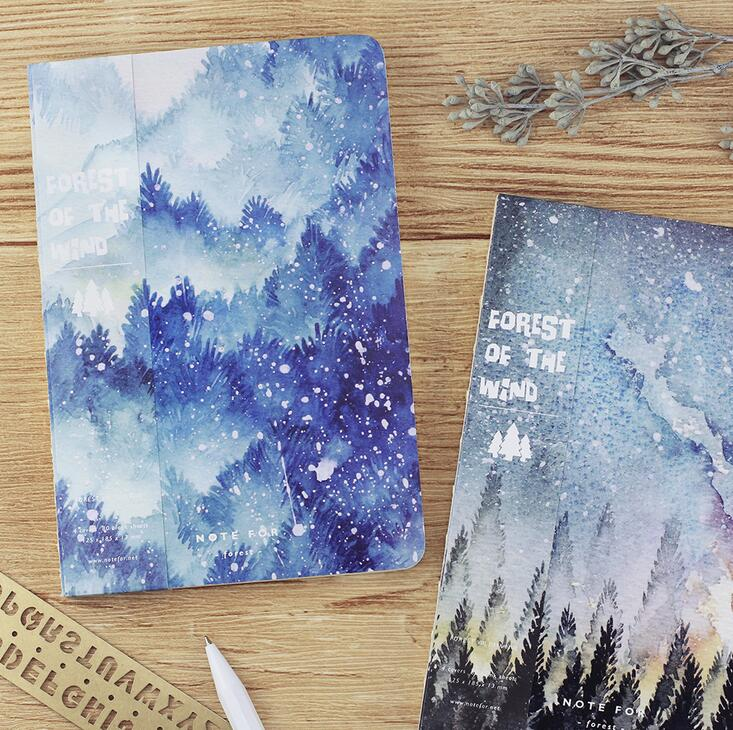 Note for wind forest theme notebook 12.5*18.5cm blank pages 80P cool stars night trees Korean fashion journal gift fx18 80p 0 8sv