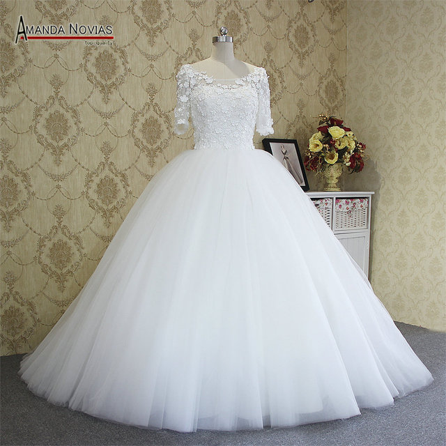New Arrival Half Sleeve Ball Gown Amanda Novias Wedding Dresses Vestido De Noiva 2017