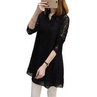 Chiffon camisa feminino longo-luva 2017 primavera plus size rendas twinset camisa básica de médio-longo topo