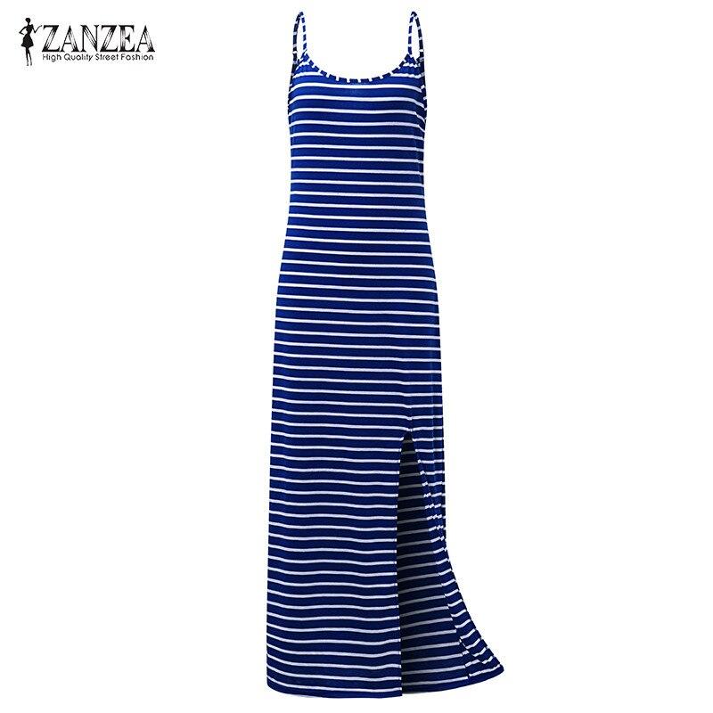 2018 ZANZEA Summer Womens Vintage Striped O Neck Spaghetti Straps Split Beach Sleeveless Maxi Long Dress Vestido Plus Size