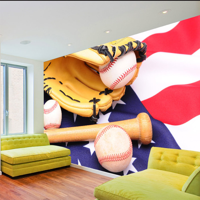 Home Decor Wall Papers Children\'s Bedroom Baseball Photo Wallpaper ...