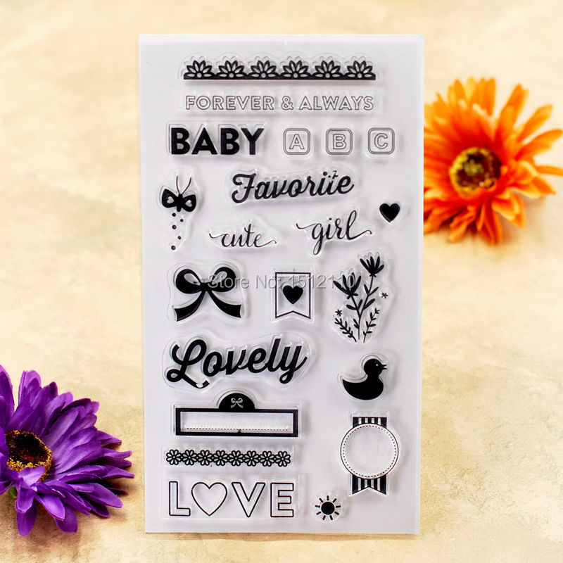 BABY Lovely LOVE cute girl Scrapbook DIY photo cards account rubber stamp clear stamp transparent stamp 11x20cm KW6112433