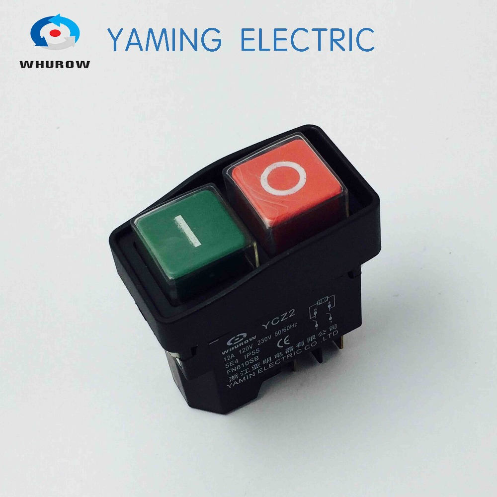 YCZ2 Electromagnetic switch 4 Pin On Off red green Push Button switch 12A 230V restart and under voltage protection 2pcs lot red 4 pin light on off boat button switch 250v 16a ac amp 125v 20a