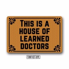 "цена This is a House of Learned Doctors - Funny Doormats Personalized Durable Machine-washable Indoor/outdoor Door Mat 18""(W) x"