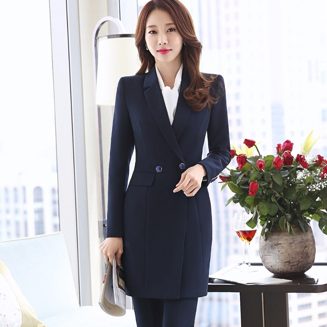 2018 New Winter Women Long Blazer Elegant Long Sleeve Formal  For Office Lady Black Blue Red 1