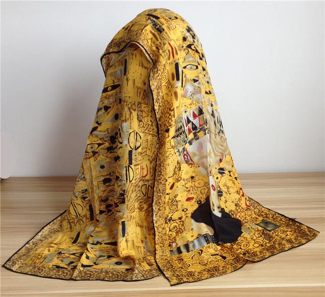 Tinta a óleo Crepe de seda Cachecol mulheres 100% seda pura lenços xales e cachecóis Poncho Handrim Hijab Cachecol Foulard 156 X 42 cm SF0013