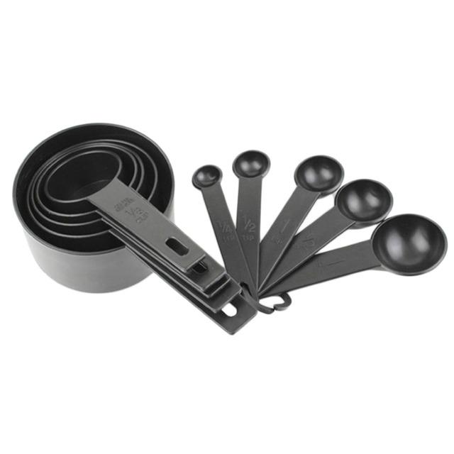 Black Plastic Measuring Cups 10pcs/lot Measuring Spoon Kitchen Tools Measuring Set Tools  For Baking Coffee Tea