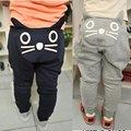 Unisex Bonito do Gato Dos Desenhos Animados Aanimal Padrão Calças Do Bebê PP Calças Do Bebê Calças Do Bebê Primavera Outono Crianças Calças