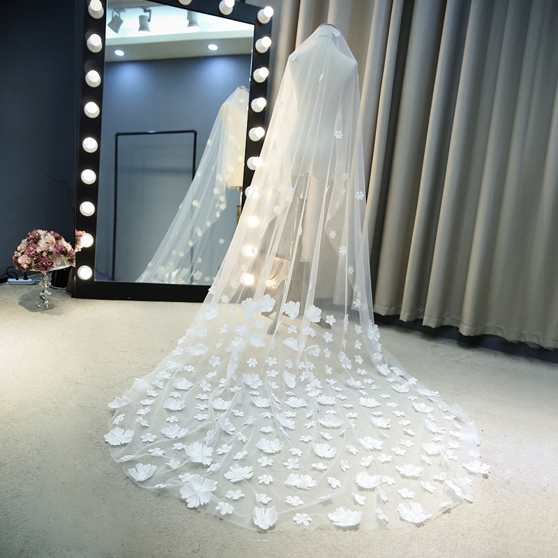 Ivory White Bride Wedding Dress European Long 3 M Embroidered Tulle Lace Veil Church Wedding Petal Decoration Happy Moment in Lace from Home Garden