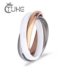 2019 Rose Gold Three Cross Ring Zirconia Fashion White Black Ceramic Rings Jewelry Vintage Ceramic Decorations for Women
