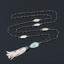 Amazionite Natural Stone Necklaces Dark Blue Jade Long Chain Necklace Fashion Freshwater Pearl Tassel For Women