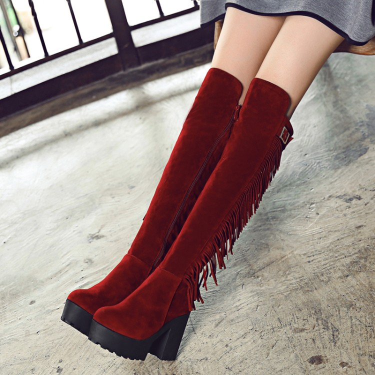 Big Size 34-44 Over the Knee Boots for Women Sexy High Heels Long boots Winter Shoes Round Toe Platform Knight Boots M985 2016 new big size 34 43 winter women lace botas sexy round toe high heel shoes solid pu white over the knee boots au 703 5