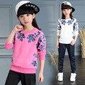 Roupa das crianças Conjuntos para Meninas Floral Ternos Outono Tops de Manga Longa + Calça conjuntos Kid Imprimir Conjuntos de Fatos de Treino Roupas 3 4 6 8 10 12