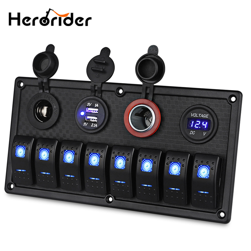 цена на 6/8 Gang LED Car Boat Truck Waterproof Rocker Switch Panel 3.1A Dual USB Power Socket Voltmeter 12V Cigarette Lighter Socket