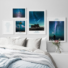 где купить Pretty Starry Sky Light House Nordic Posters And Prints Wall Art Canvas Painting Salon Decoration Wall Pictures For Living Room по лучшей цене