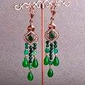 Blucome turco resina africano beads dangle brincos para as mulheres antigo banhado a ouro max brincos big green vintage tassel brinco