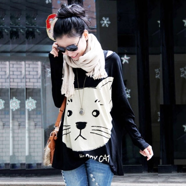 2015 Free Shipping new autumn -summer korean style plus size cat pattern printed women t- shirt 1681