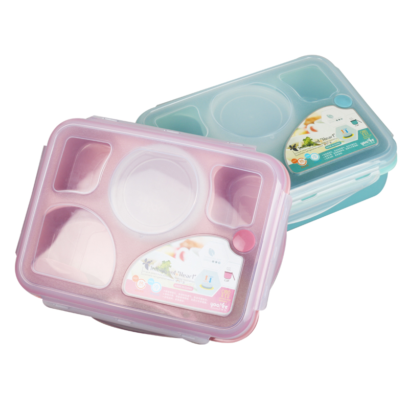 High Quality Bento Lunch Box Fully Sealed Food 5-compartment Bento Box Soup Bowl With Plastic Scoop Pratos Microwave Meal(00116)