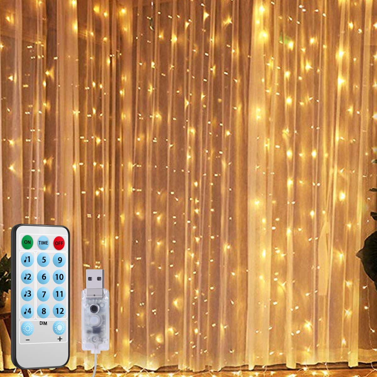 Remote Control LED Curtain Light With Voice Activated USB Powered 300 LEDs Fairy String Lights For Chrismas/Bedroom/Parties DA
