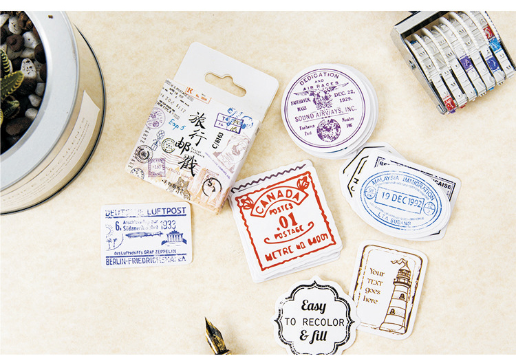 Купить с кэшбэком 45PCS/PACK Retro Postmark Stamp Seal Sticker Marker Planner Diary School Supplies Stickers Scrapbooking Bullet Journal sl1503